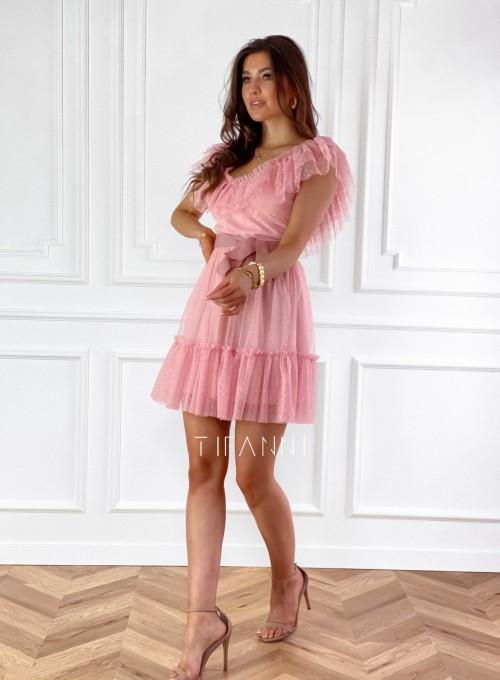 Zwiewna sukienka z żabotem Milly 6