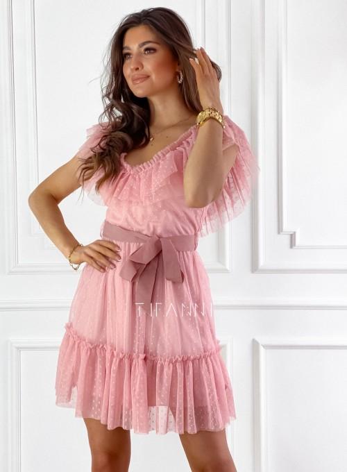 Zwiewna sukienka z żabotem Milly 7