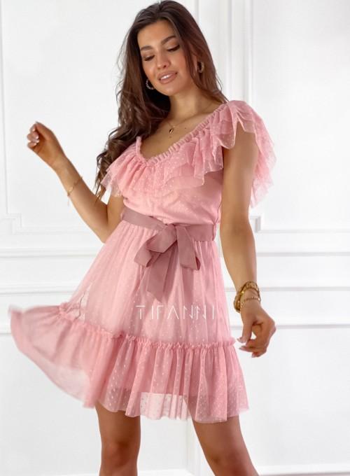 Zwiewna sukienka z żabotem Milly 8
