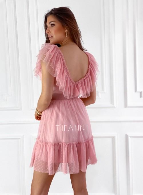 Zwiewna sukienka z żabotem Milly 4