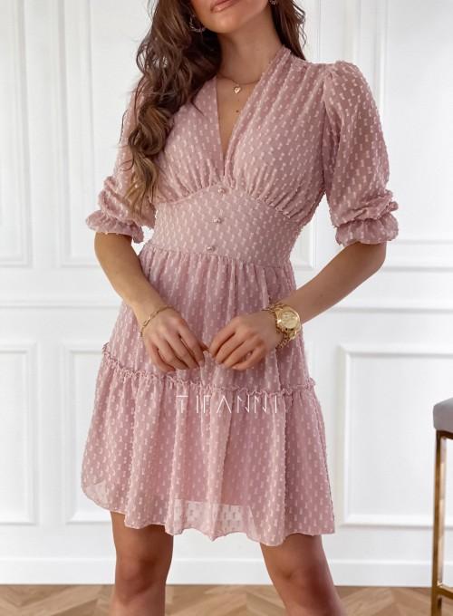 Sukienka Elton pudrowa 1