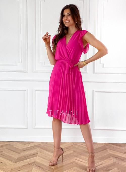 Zwiewna plisowana sukienka w kolorze fuksji 4
