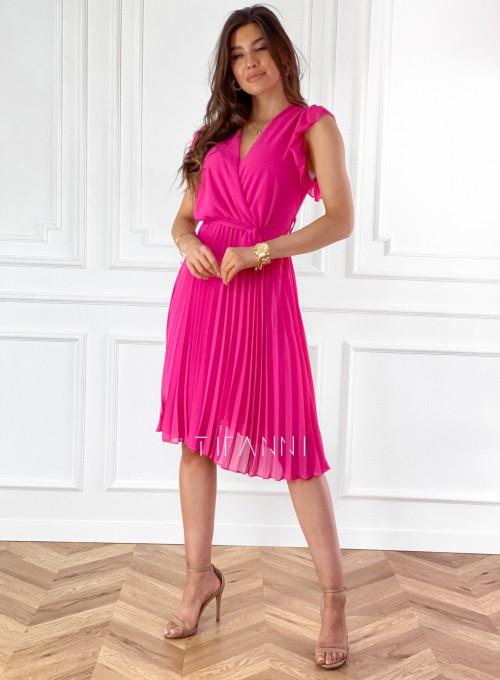 Zwiewna plisowana sukienka w kolorze fuksji 2
