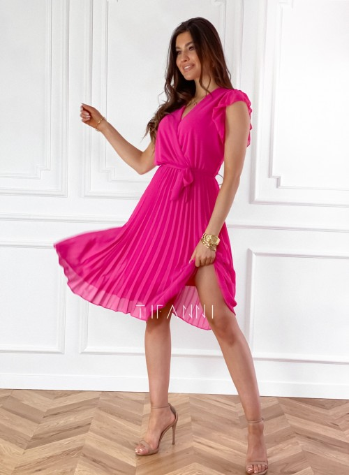 Zwiewna plisowana sukienka w kolorze fuksji 5