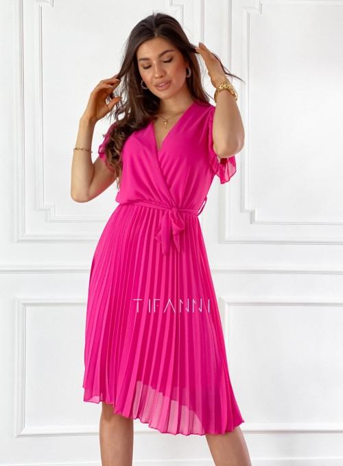 Zwiewna plisowana sukienka w kolorze fuksji 3