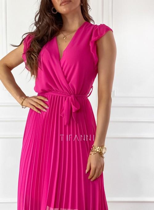 Zwiewna plisowana sukienka w kolorze fuksji 1