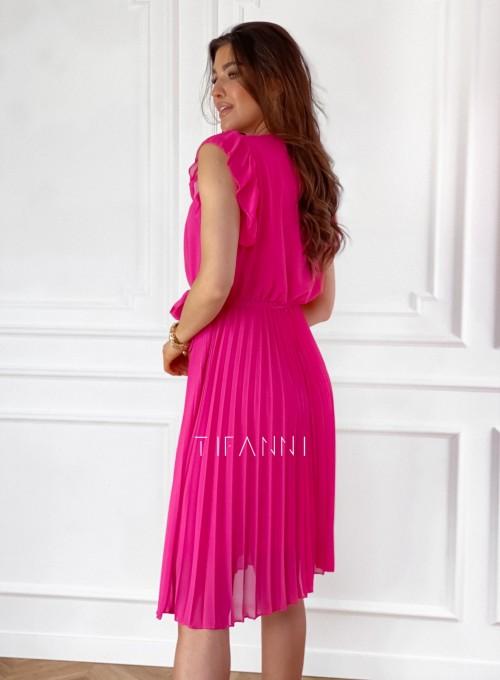 Zwiewna plisowana sukienka w kolorze fuksji 6