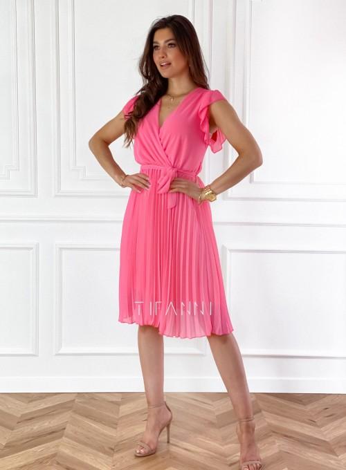 Zwiewna plisowana sukienka w kolorze pink 4