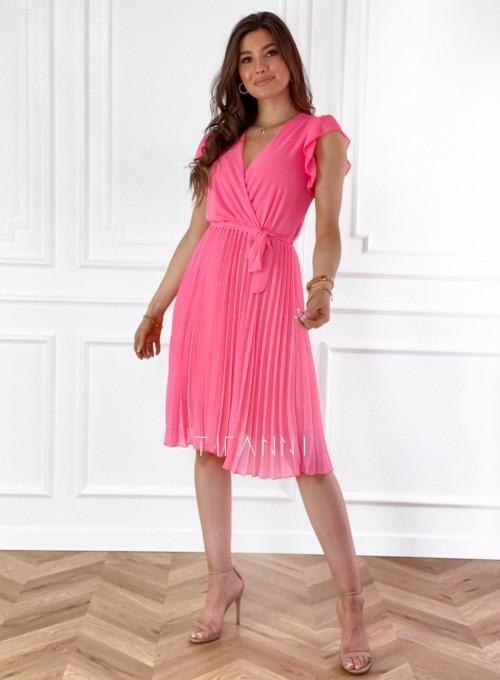 Zwiewna plisowana sukienka w kolorze pink 2