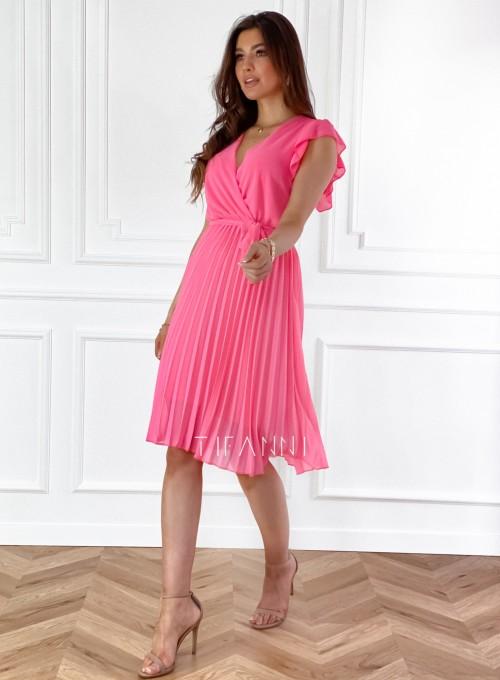 Zwiewna plisowana sukienka w kolorze pink 5