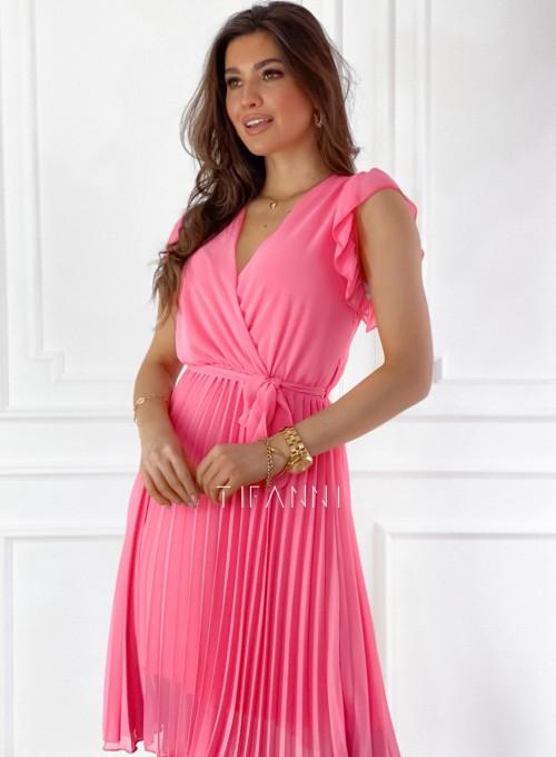 Zwiewna plisowana sukienka w kolorze pink 1