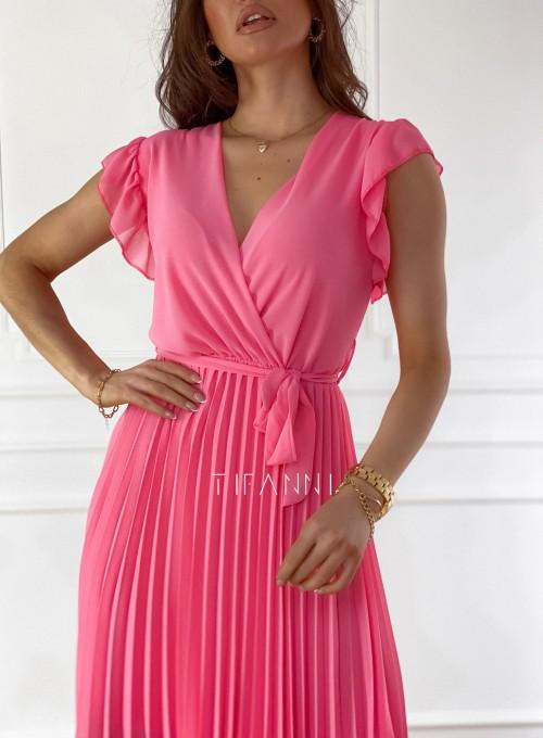 Zwiewna plisowana sukienka w kolorze pink 3