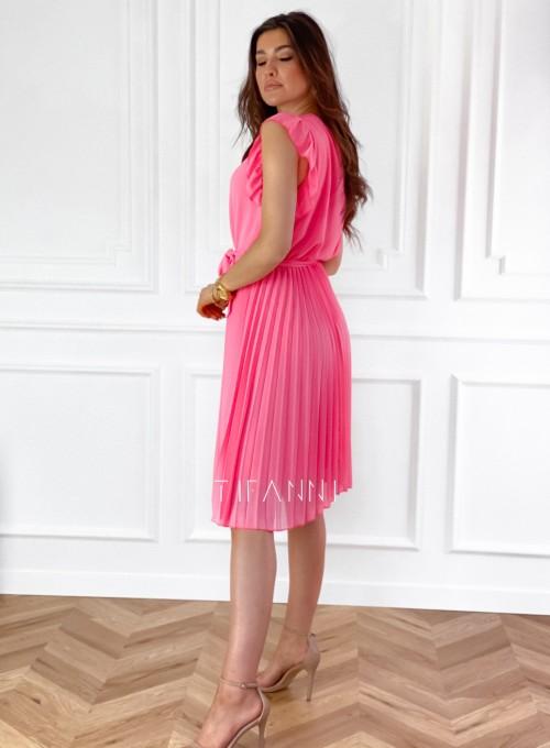 Zwiewna plisowana sukienka w kolorze pink 6