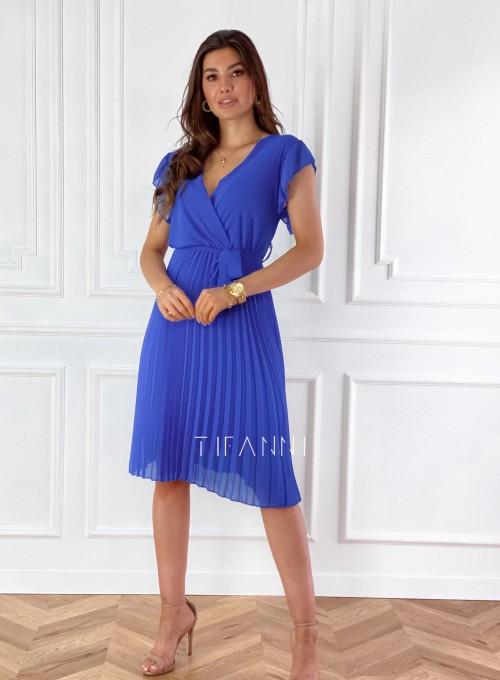 Zwiewna plisowana sukienka w kolorze chabrowym 4