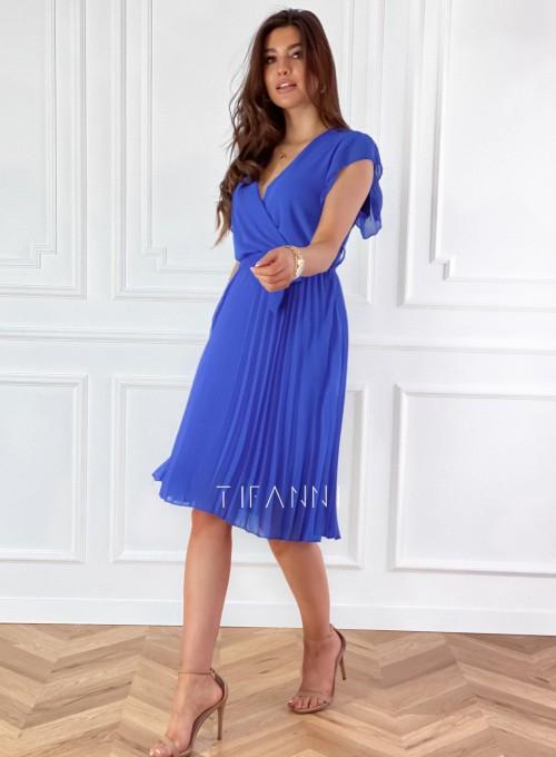Zwiewna plisowana sukienka w kolorze chabrowym 5