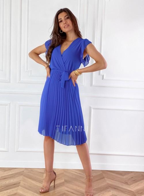 Zwiewna plisowana sukienka w kolorze chabrowym 6