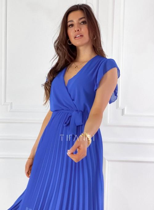 Zwiewna plisowana sukienka w kolorze chabrowym 3