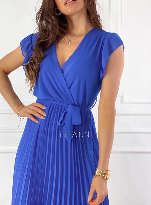 Zwiewna plisowana sukienka w kolorze chabrowym 1