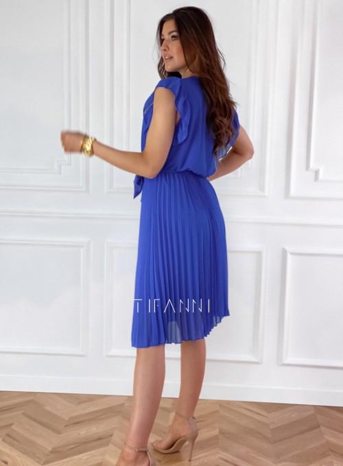 Zwiewna plisowana sukienka w kolorze chabrowym 7
