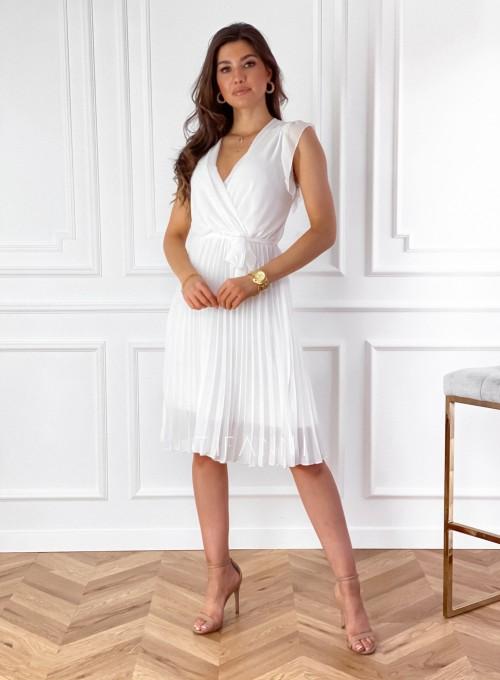 Zwiewna plisowana sukienka w kolorze śmietankowym 4