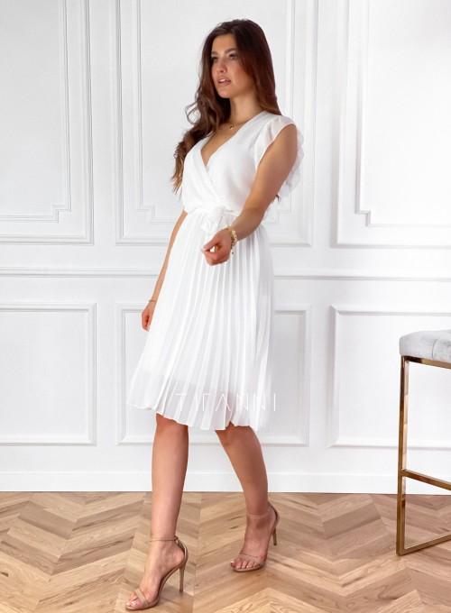 Zwiewna plisowana sukienka w kolorze śmietankowym 6