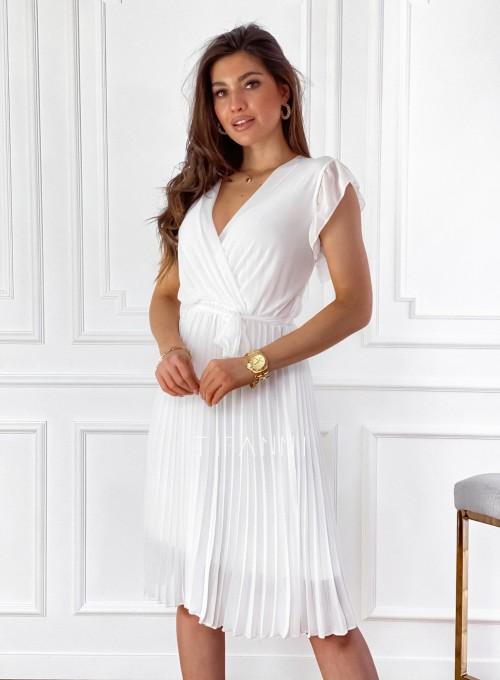 Zwiewna plisowana sukienka w kolorze śmietankowym 3