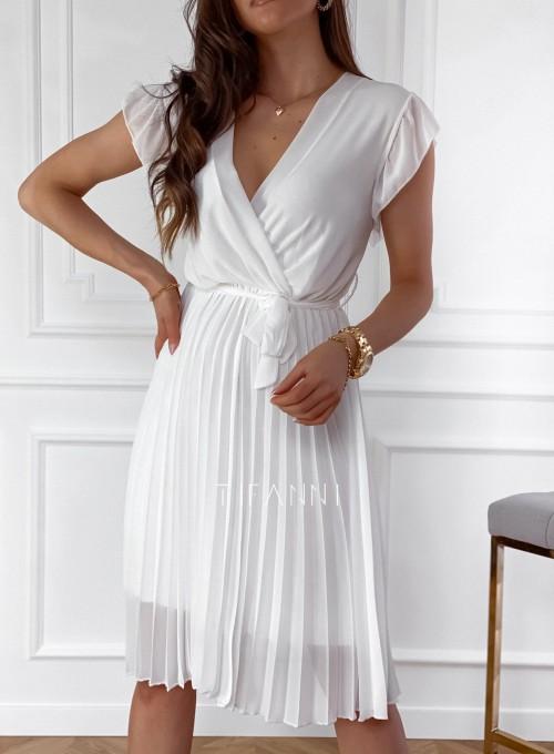 Zwiewna plisowana sukienka w kolorze śmietankowym 1
