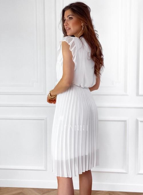 Zwiewna plisowana sukienka w kolorze śmietankowym 7