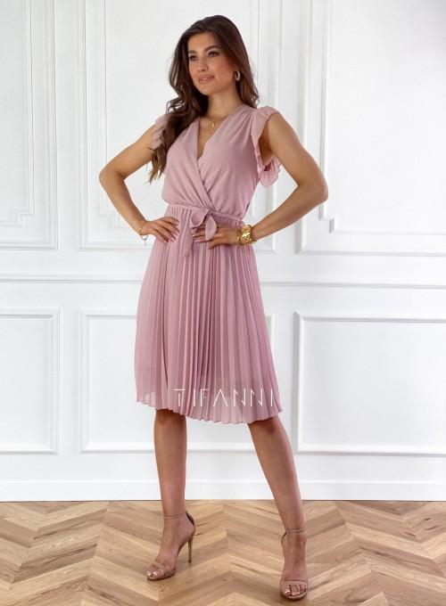 Zwiewna plisowana sukienka w kolorze pudrowym 2