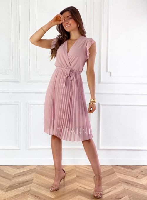 Zwiewna plisowana sukienka w kolorze pudrowym 4