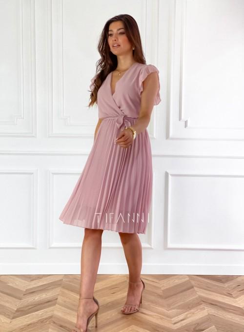 Zwiewna plisowana sukienka w kolorze pudrowym 6