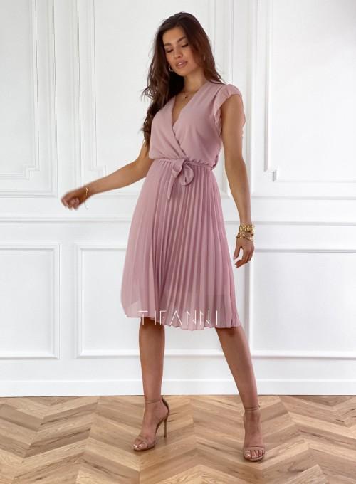 Zwiewna plisowana sukienka w kolorze pudrowym 7