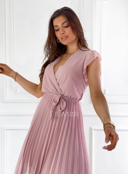 Zwiewna plisowana sukienka w kolorze pudrowym 8