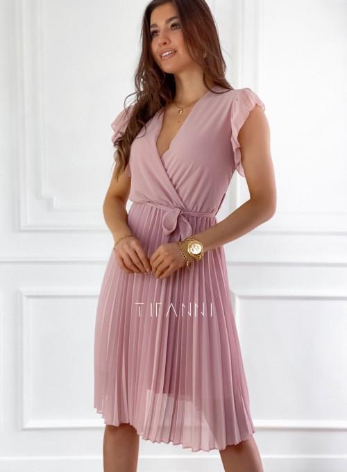 Zwiewna plisowana sukienka w kolorze pudrowym 9