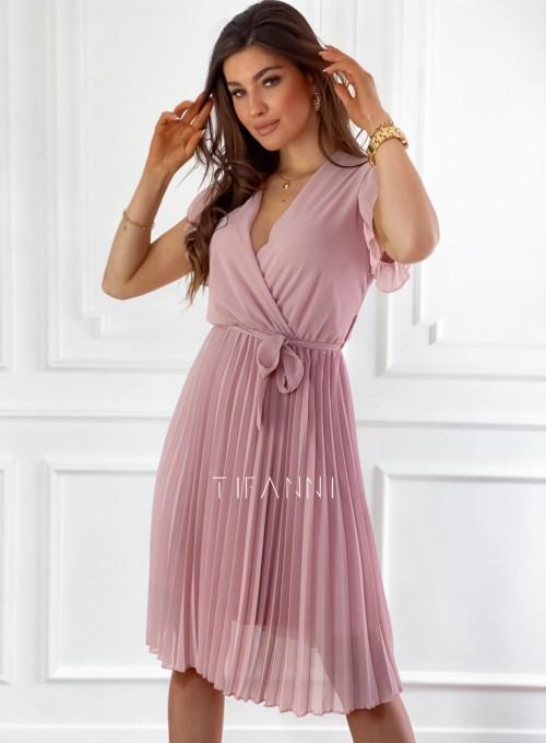 Zwiewna plisowana sukienka w kolorze pudrowym 5