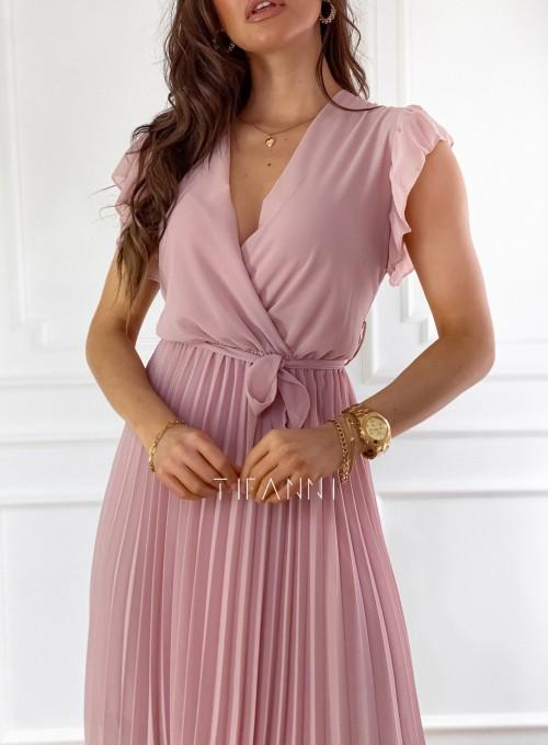 Zwiewna plisowana sukienka w kolorze pudrowym 1