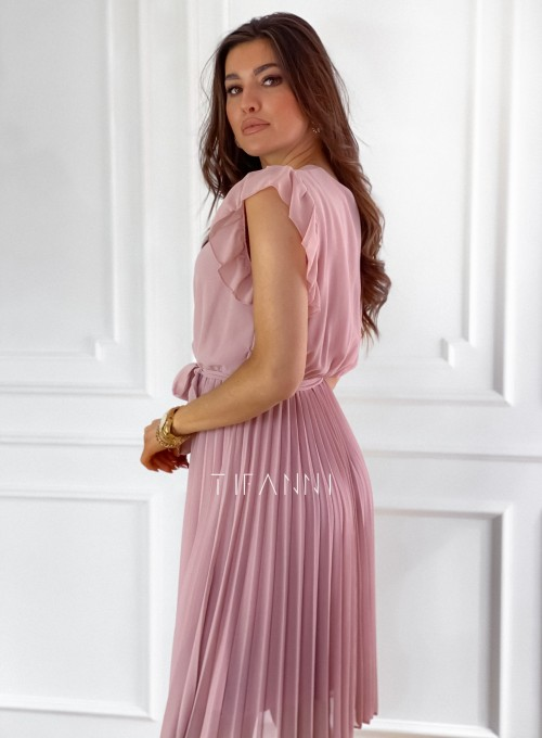 Zwiewna plisowana sukienka w kolorze pudrowym 3
