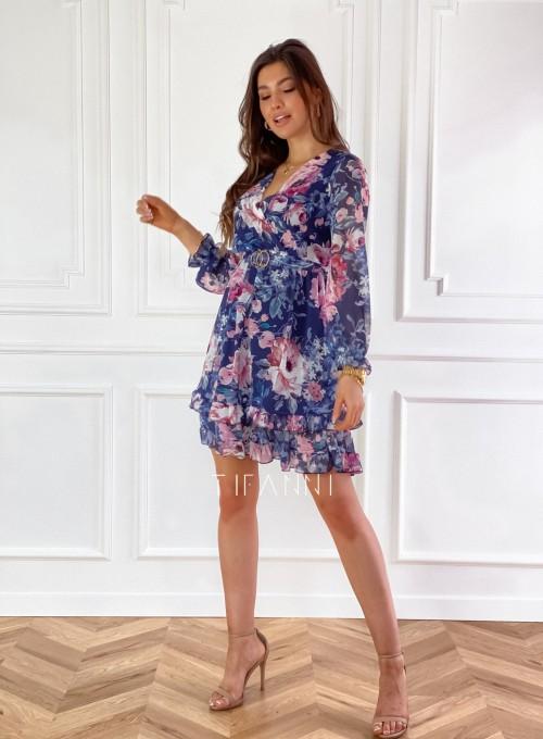 Szyfonowa kwiecista sukienka w kolorze granatowym 2