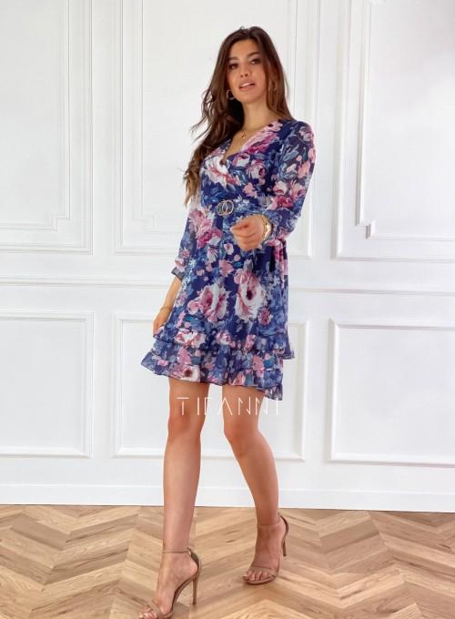 Szyfonowa kwiecista sukienka w kolorze granatowym 5