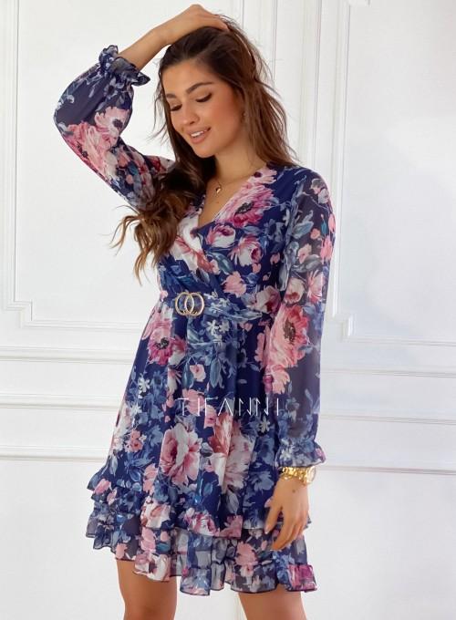 Szyfonowa kwiecista sukienka w kolorze granatowym 6
