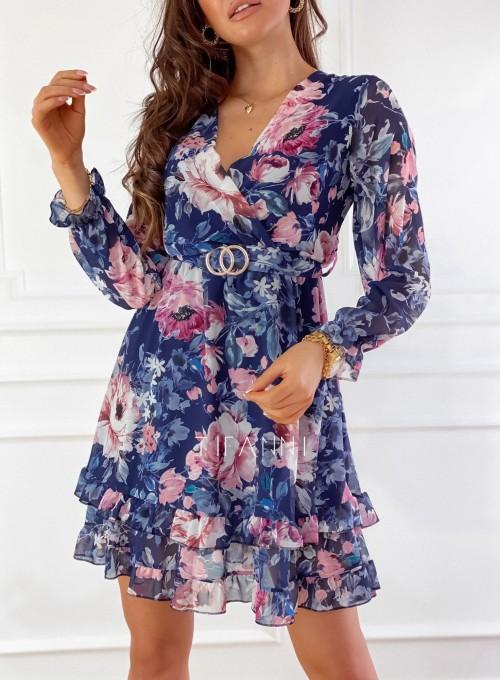 Szyfonowa kwiecista sukienka w kolorze granatowym 1