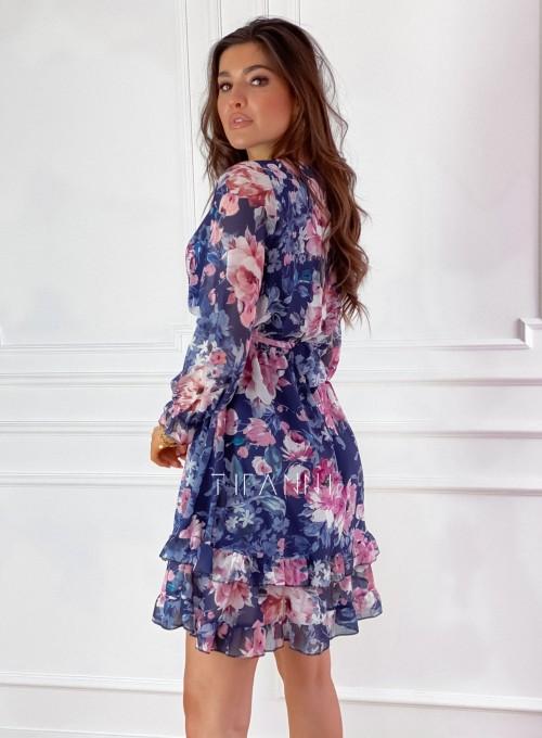 Szyfonowa kwiecista sukienka w kolorze granatowym 7