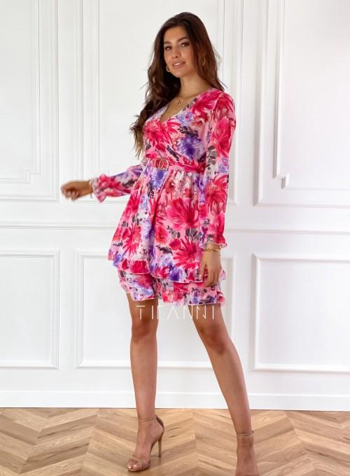 Szyfonowa kwiecista sukienka 2