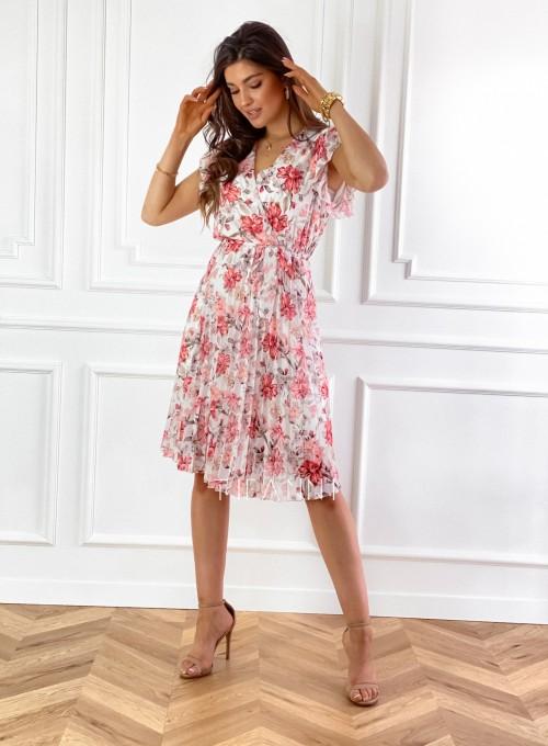 Plisowana kwiatowa sukienka Auris 2