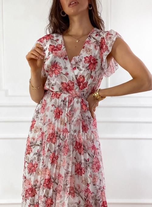 Plisowana kwiatowa sukienka Auris 1