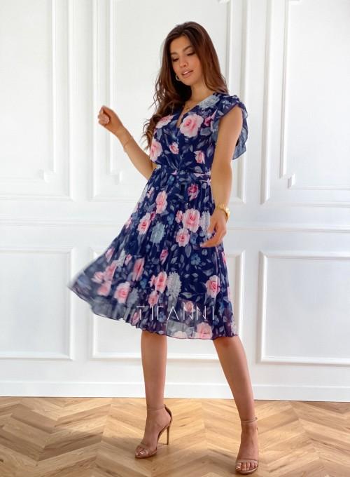 Plisowana kwiatowa sukienka Auris granatowa 4
