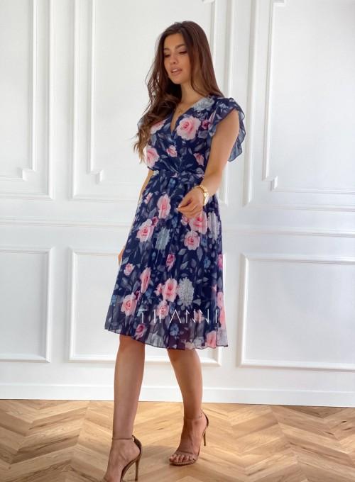 Plisowana kwiatowa sukienka Auris granatowa 5