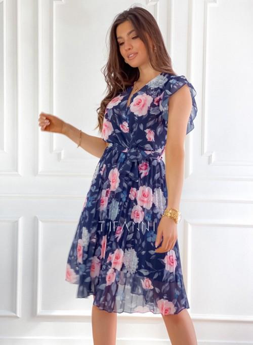 Plisowana kwiatowa sukienka Auris granatowa 3