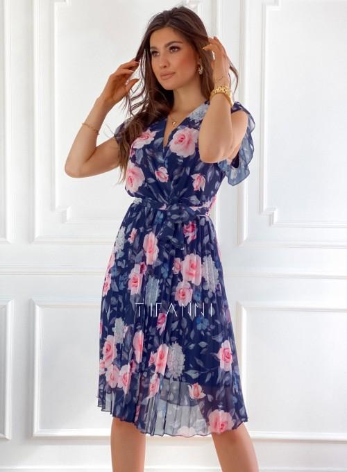 Plisowana kwiatowa sukienka Auris granatowa 7