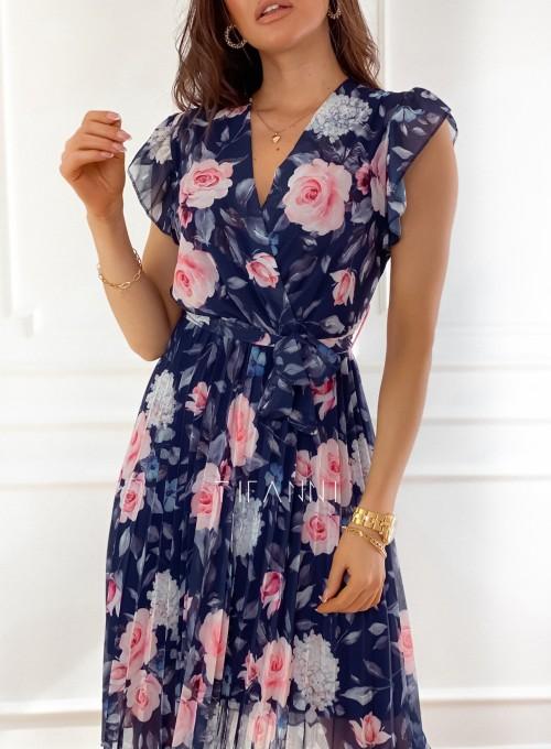 Plisowana kwiatowa sukienka Auris granatowa 1